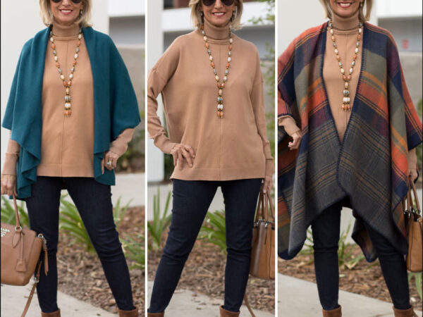 fall fashion for women camel turtle neck and teal cape vest