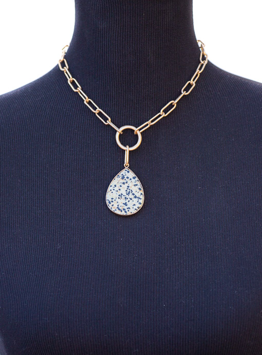 Big Gold Chain Necklace With Teardrop Pendant
