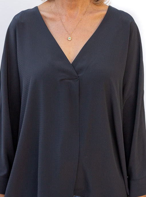 Black Oversized Dolman Sleeve Blouse