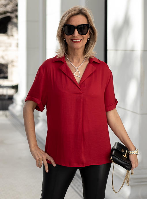 Ruby Red Notch Collar Short Sleeve Blouse