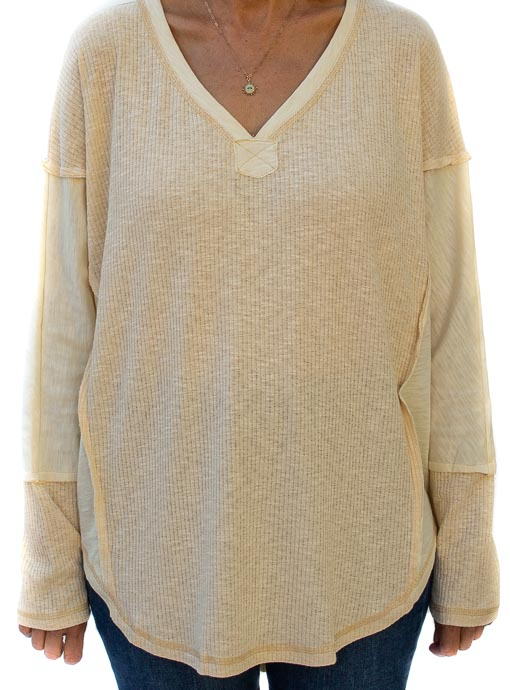 Chamois Textured And Solid Mix Knit Top