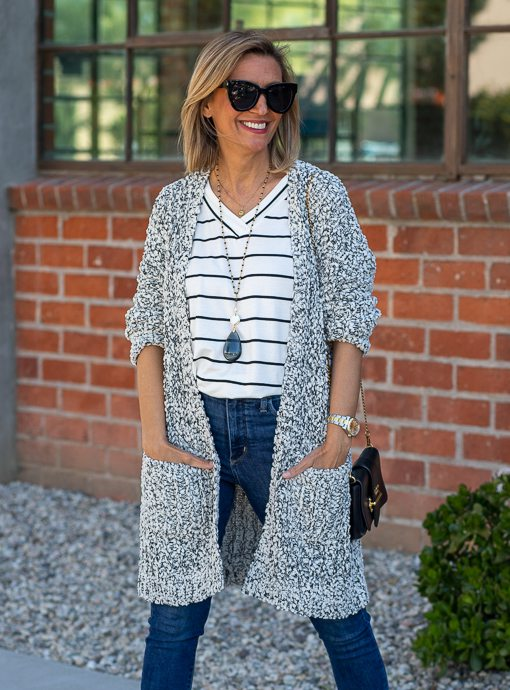 Ivory Black Popcorn Cardigan With Pockets