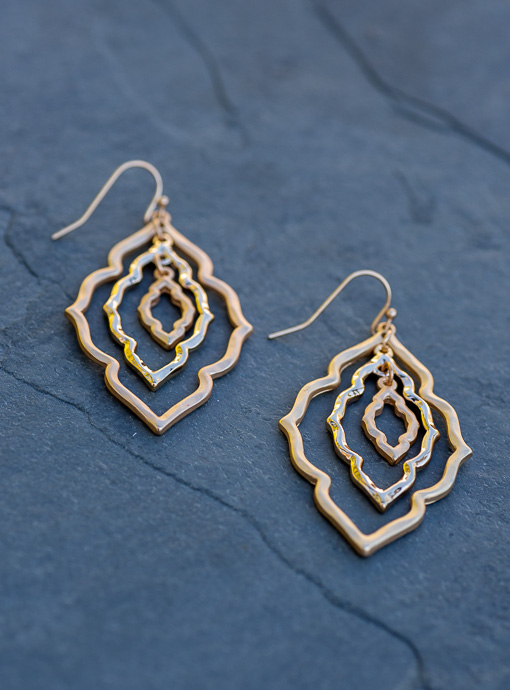 Matte And Shinny Gold Moroccan Flower Shape Earrings