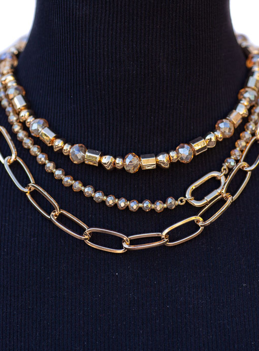 Multi Layer Gold Chain And Champagne Bead Necklace