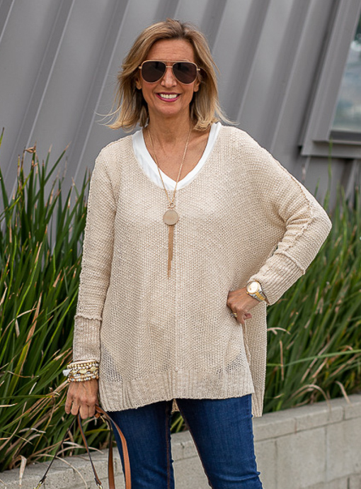 Yarn Sweater for women in a natural oatmeal color