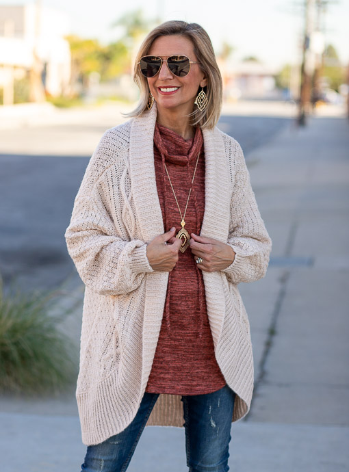 Oatmeal Cable Knit Cocoon Cardigan