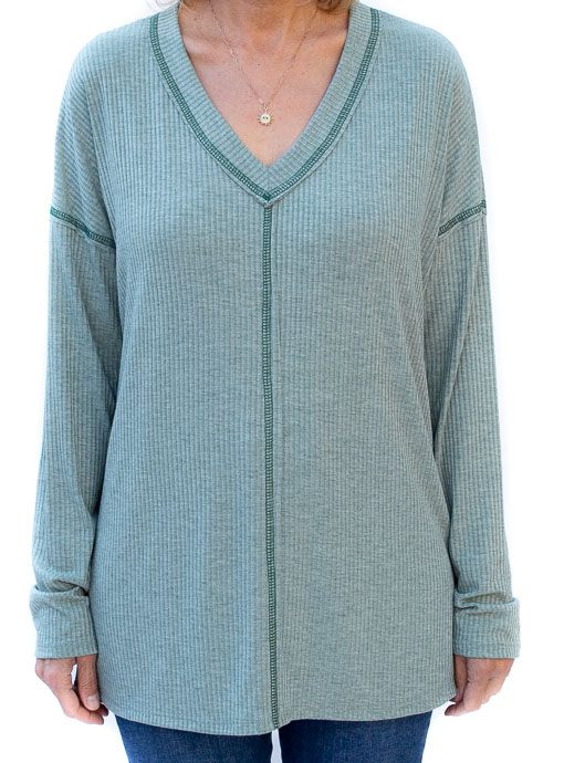 Sage Rib Knit V Neck Top
