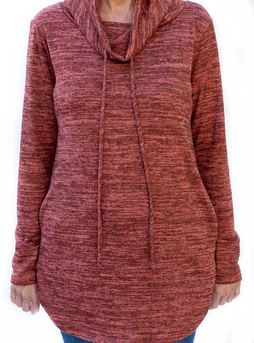 Two Tone Cinnamon Knit Cowl Neck Top