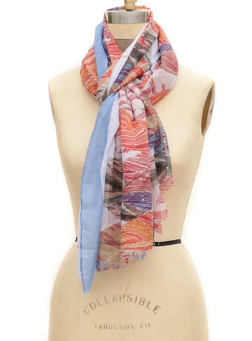 Blue Multi Color Feather Print Scarf With Small Sequins