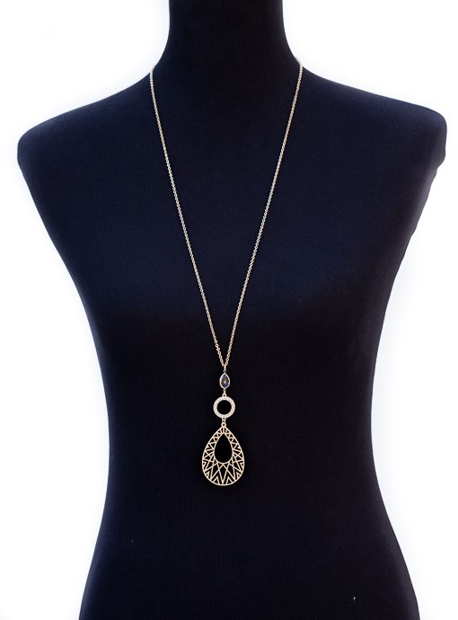 Gold Chain Necklace With Intricate Gold Teardrop Pendant
