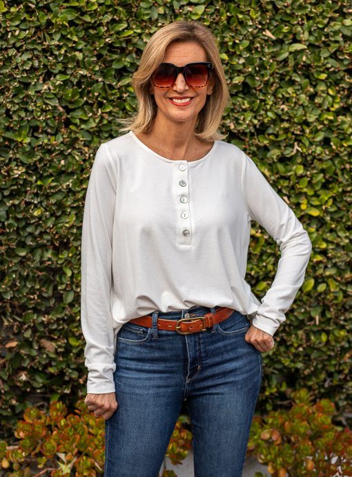 Ivory Long Sleeve Soft Henley Knit Top