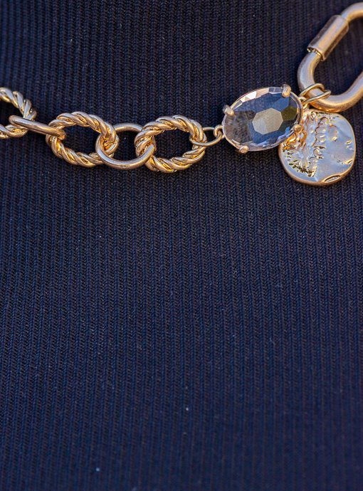 Matte Gold Mixed Chain Necklace With Charms