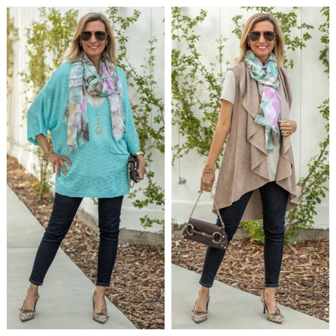 Women's turquoise sweater with scarf styled for spring and summer