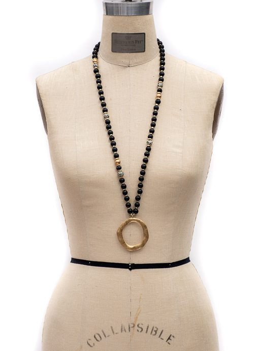 Black And Gold Bead Necklace With Gold Pendant