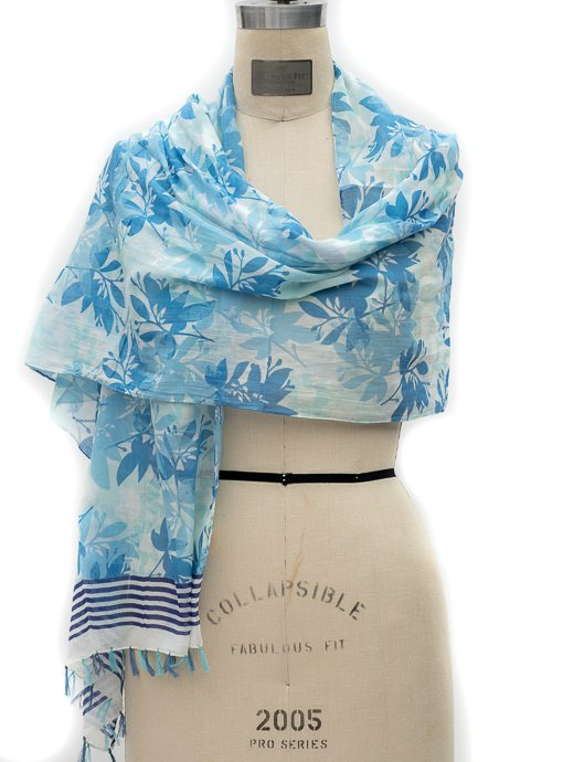 Blue Floral Stripe Border Print Scarf With Tassels