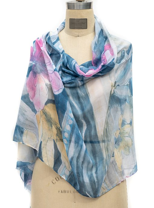 Blue Multi Watercolor Floral Print Scarf Shawl