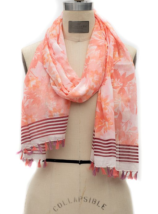 Coral Floral Stripe Border Print Scarf With Tassels