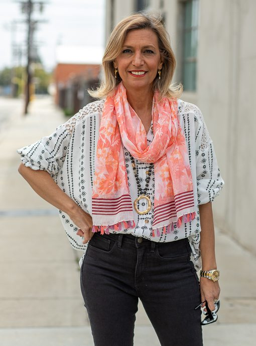womens coral scarf