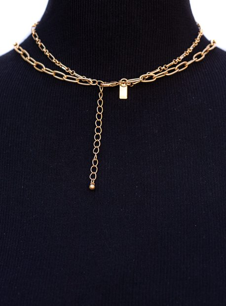 Double Layer Gold Chain Eye Pendant Necklace