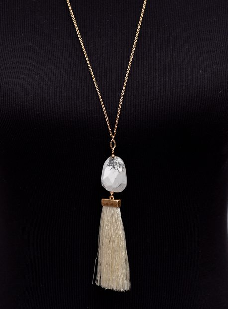 Gold Chain Necklace With White Marbleized Stone And Fringe