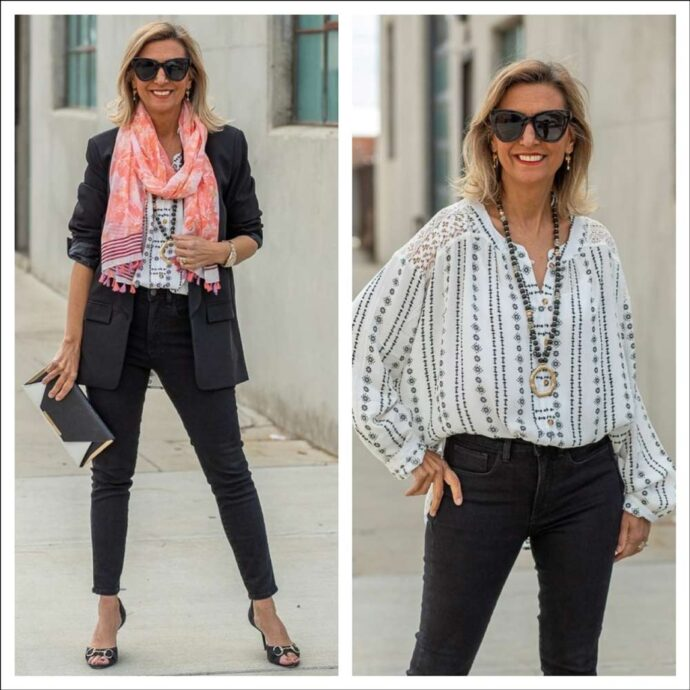 black boyfriend jacket for women style with Ivory top and coral scarf