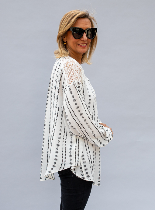 Ivory Black Print Top With Lace Insert