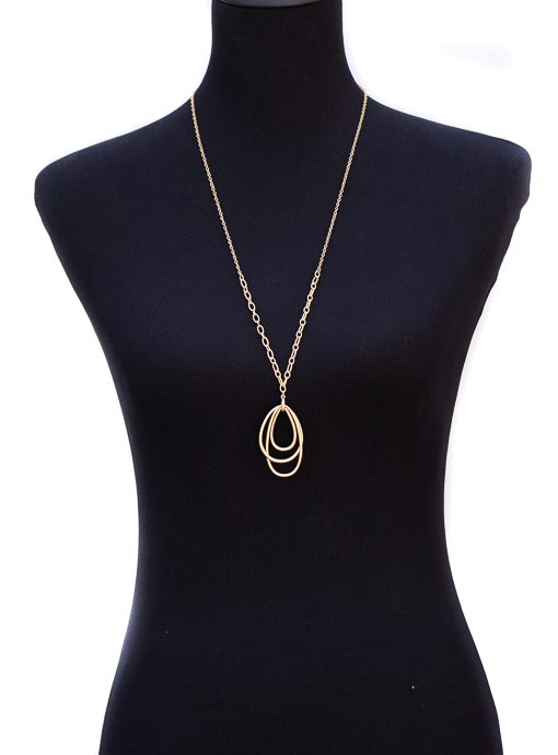 Matte Gold Chain Necklace With Teardrop Shape Pendants