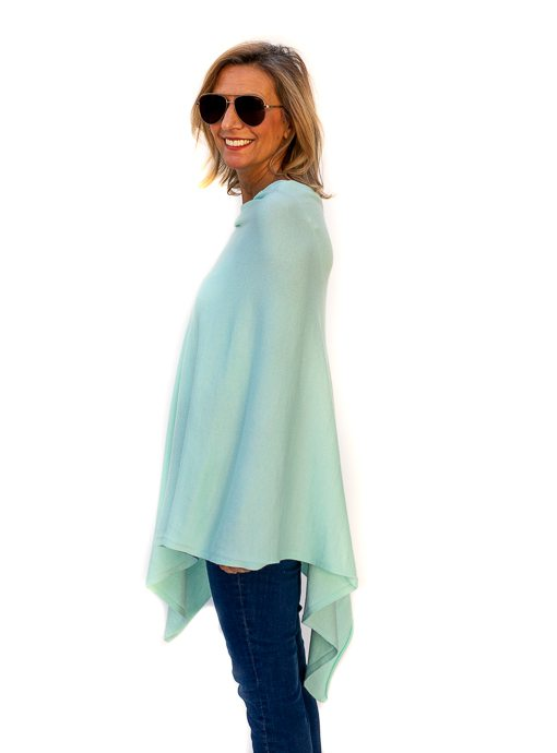 Mint Cashmere Blend Pull On Poncho