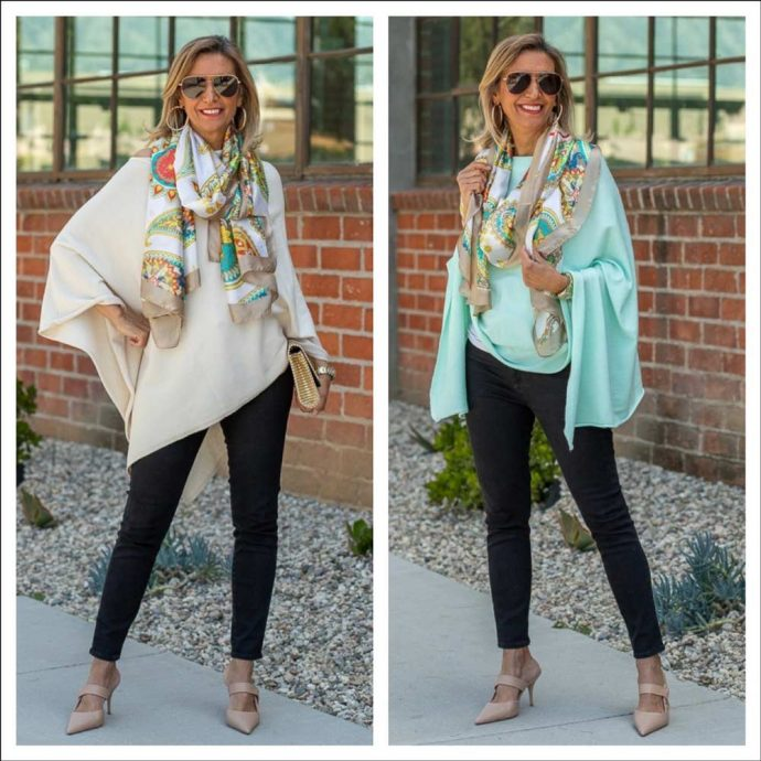 spring cashmere blend ponchos for women