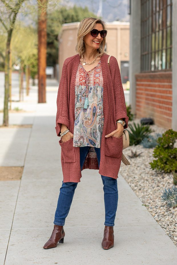 Nutmeg Cardigan style with womens boho paisley floral peasant blouse