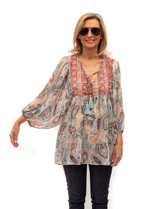 Georgette Paisley Boho Peasant Top For Women