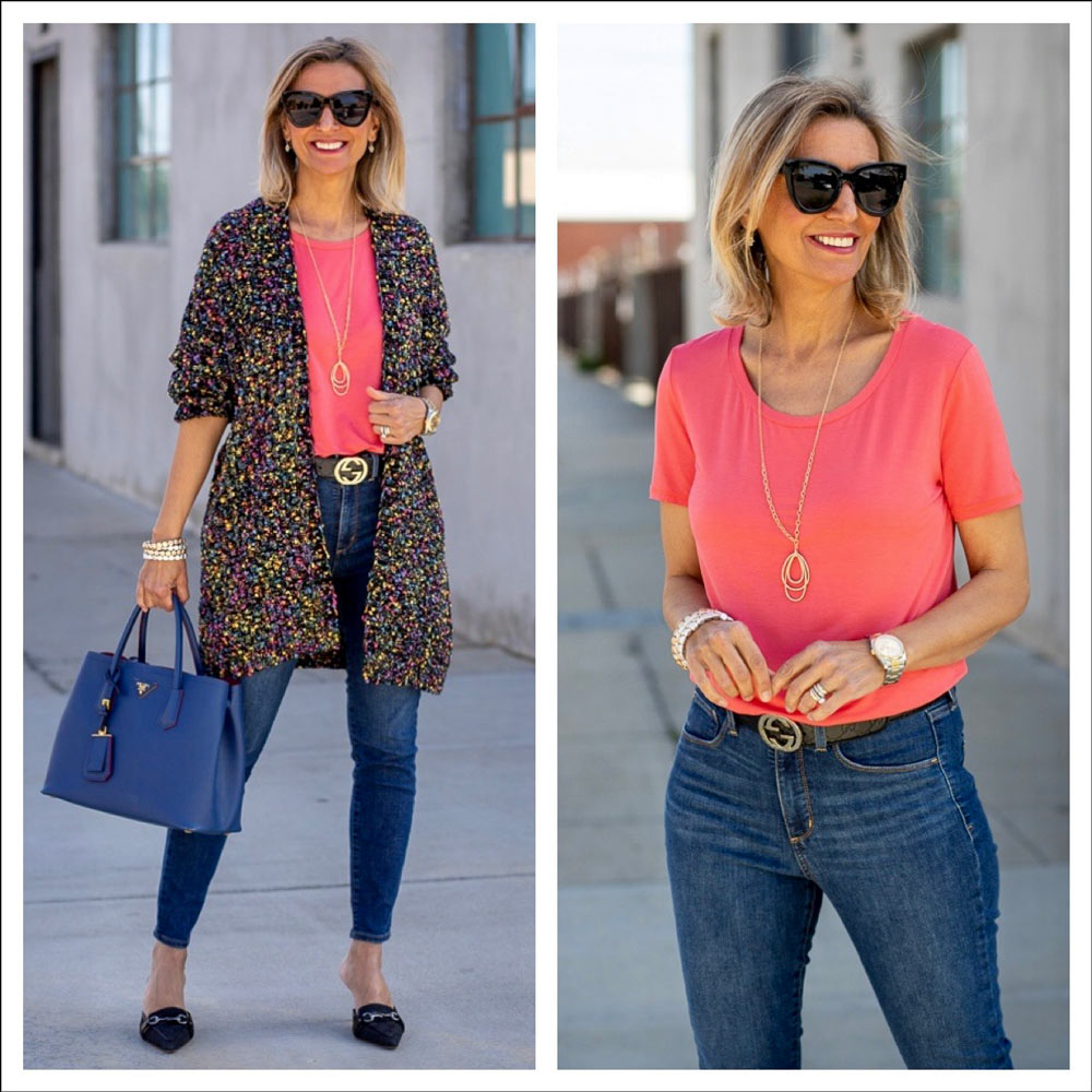 womens coral round neck short sleeve top styled for spring
