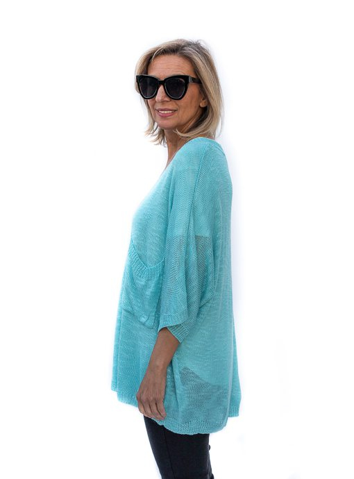 Turquoise Textured Yarn Short Sleeve Top Sweater