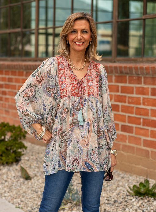 floral paisley boho peasant top for women