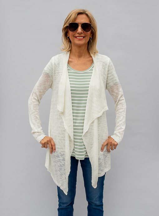 Ivory Light Weight Knit Cardigan With Cascading Collar