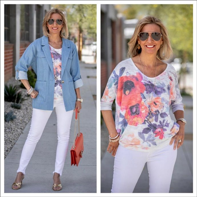 Womens-Chambray-Blue-Denim-Jacket-Mixed-With-White-And-Florals-featured