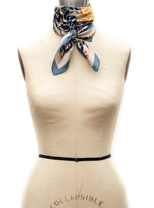 Blue Gold Peach Leaf And Dot Print Neck Scarf