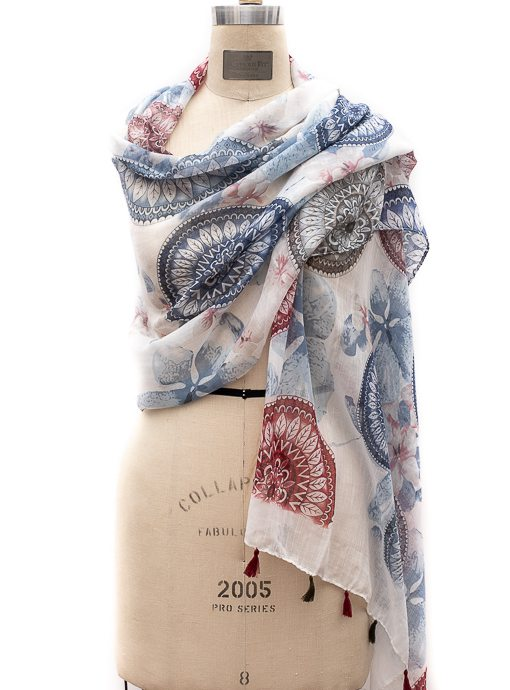 Blue Red White Circular Pattern Print Scarf With Tassels