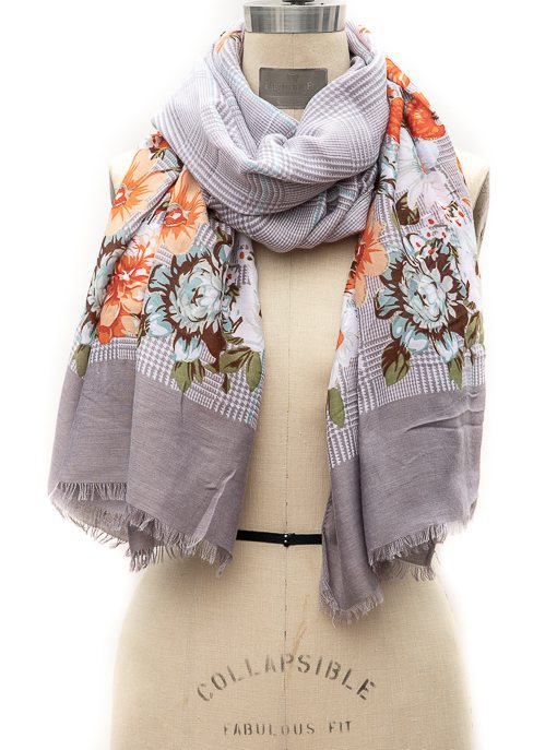 Gray Ivory Houndstooth Print Scarf With Orange Flowers