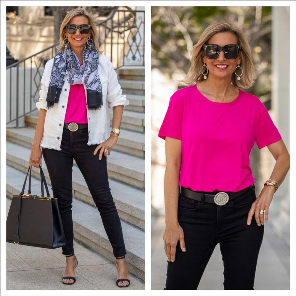 womens black and white outfit with a pop color of fushia