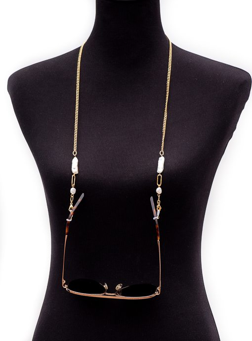 Gold Tone Chain And Pearl Mask And Eyewear Holder