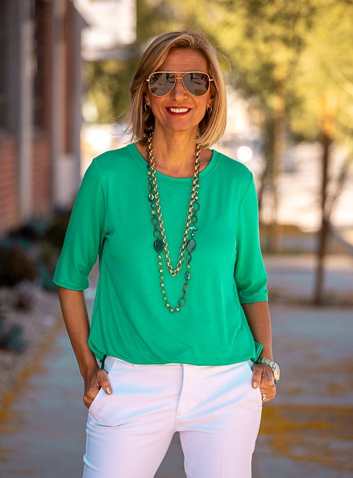 Kelly Green Round Neck Elbow Length Top