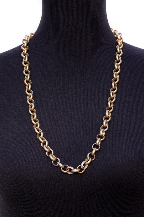 Matte Gold Circular Chain Link Necklace