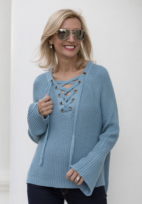 A Sky Blue Cotton Knit Sweater With Lace up front-9698