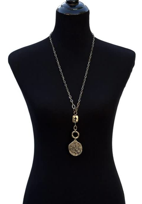 Antique Style Gold Tone Cross And Coin Necklace-9004