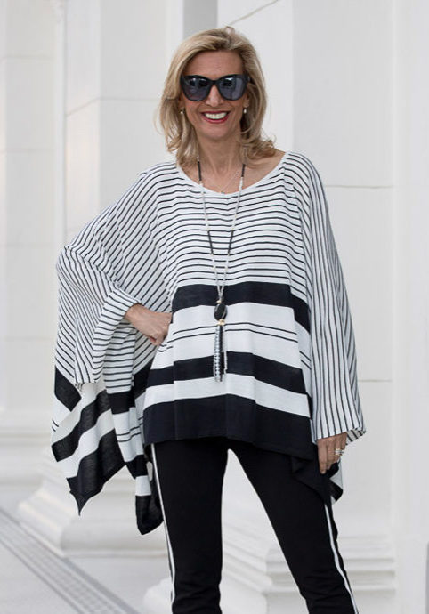 Black-and-white-stripe-knit-pull-over-poncho-product-feat