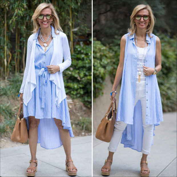 Blue and white striped shirt dress styled two ways