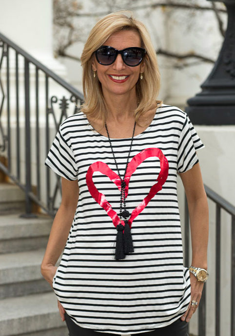Womens Heart and stripe valentines blouse