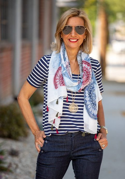Red-White-And-Blue-Circular-Pattern-Print-Scarf-For-Women-sc202