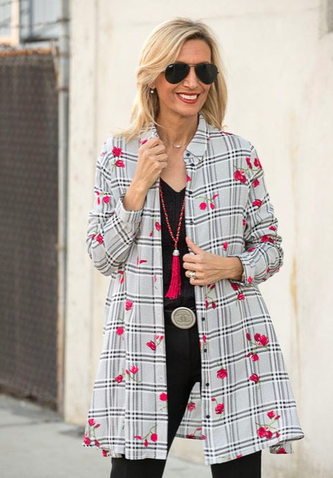 Styling-a-Black-White-Plaid-Long-Shirt-With-Red-Flowers-shirt